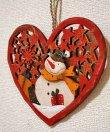 画像3: クリスマス 輸入雑貨 スノーマン 壁飾り ハート 木製 木彫り 透かし オーナメント 壁掛け 赤 ツリー リース ナチュラル LHK-0282 (3)
