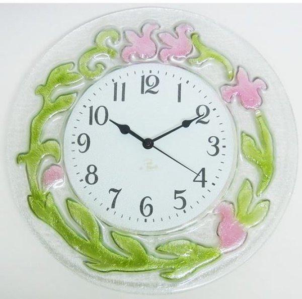 画像1:  イタリア製 輸入雑貨 時計 ガラス フラワー ピンク 円形 壁掛け エレガント モダン クラシック 姫系 1518P 直輸入 リビングスタジオ 送料無料 (1)