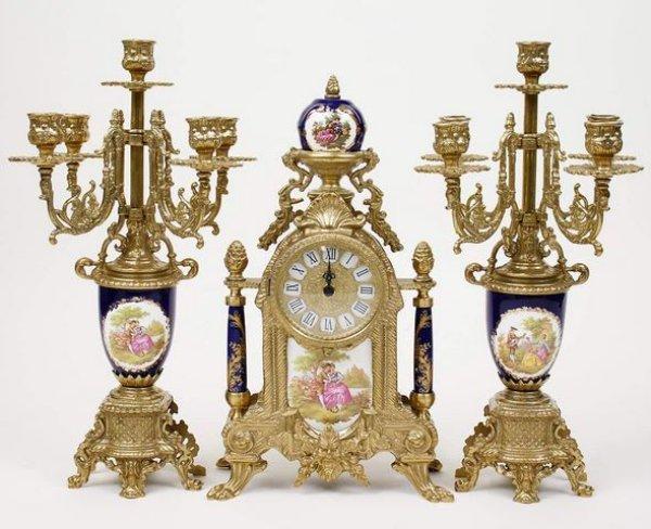 画像1: イタリア製 輸入雑貨 時計 キャンドルスタンド セット 真鍮 磁器 バロック ロココ ブルー 貴族柄 Olympus 425TBG 直輸入 リビングスタジオ (1)