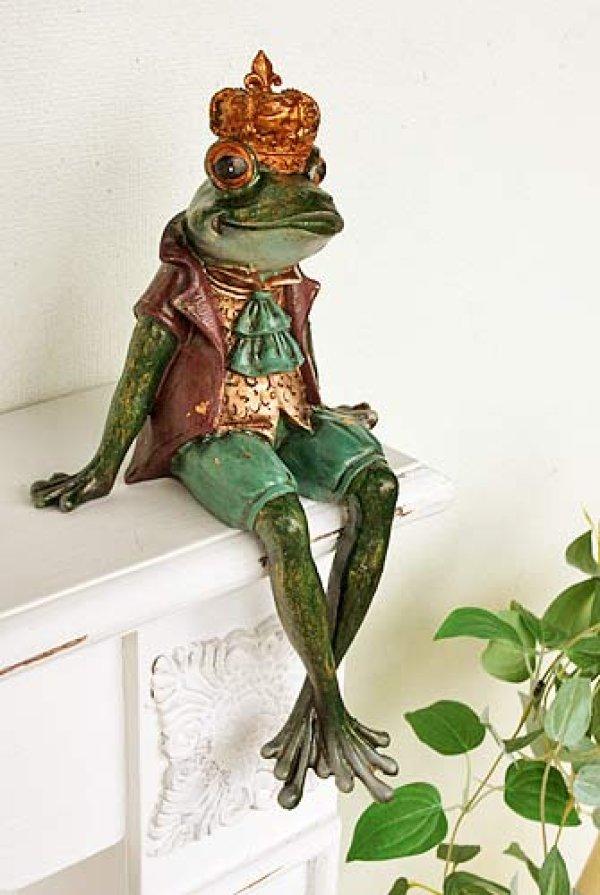 画像1: 輸入雑貨 フロッグサボタージュ Covent Garden コベントガーデン BK-34  蛙 カエル クラウン 置物 オブジェ フレンチ シャビーシック アンティーク風 フェアリーテイル (1)