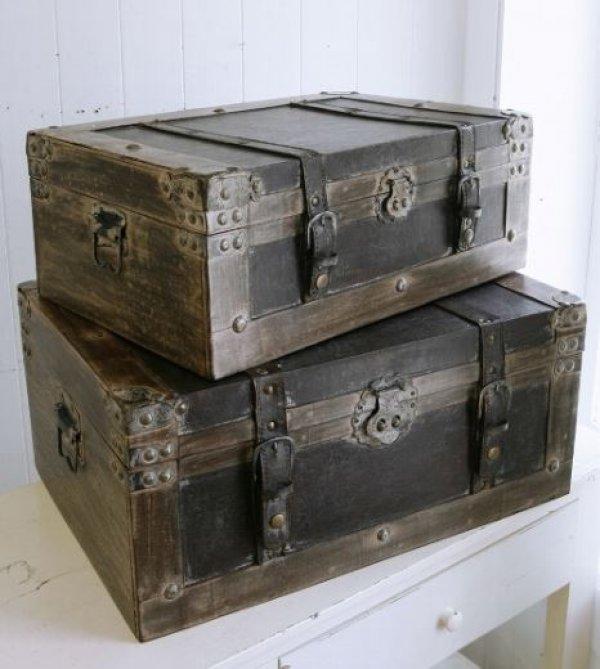 画像1: 輸入雑貨 ウッデン トランクボックス 2点セット Covent Garden コベントガーデン BO-01 トランクボックス 小物入れ 収納 木製 アンティーク風 ビンテージ調 シャビーシック レトロ 送料無料 (1)