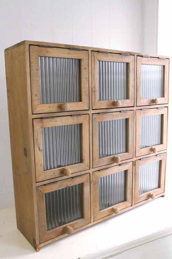 画像1: 輸入家具 ラスティ 9ドアキャビネット Covent Garden コベントガーデン FG-19  飾り棚 ショーケース ナチュラル カフェ CD キッチン (1)