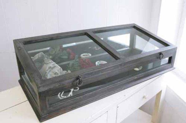 画像1: 輸入家具 ノアール ガラスショーケース コベントガーデン Covent Garden IX-48 コレクションケース 小物入れ 収納 ディスプレイ ウッド ナチュラル アンティーク風 シャビーシック レトロ (1)