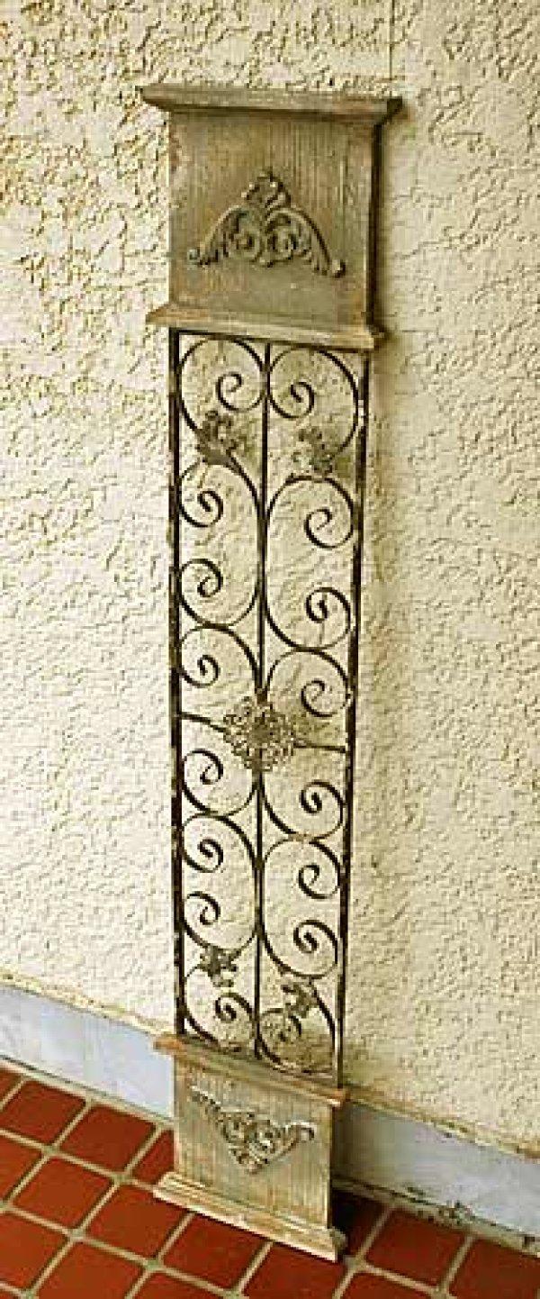 画像1: 輸入家具 ウッド アイアンスリムパネル  Covent Garden コベントガーデン LW-31 アイアン フレンチ アンティーク風 シャビーシック 壁掛け 壁飾り 窓枠 (1)
