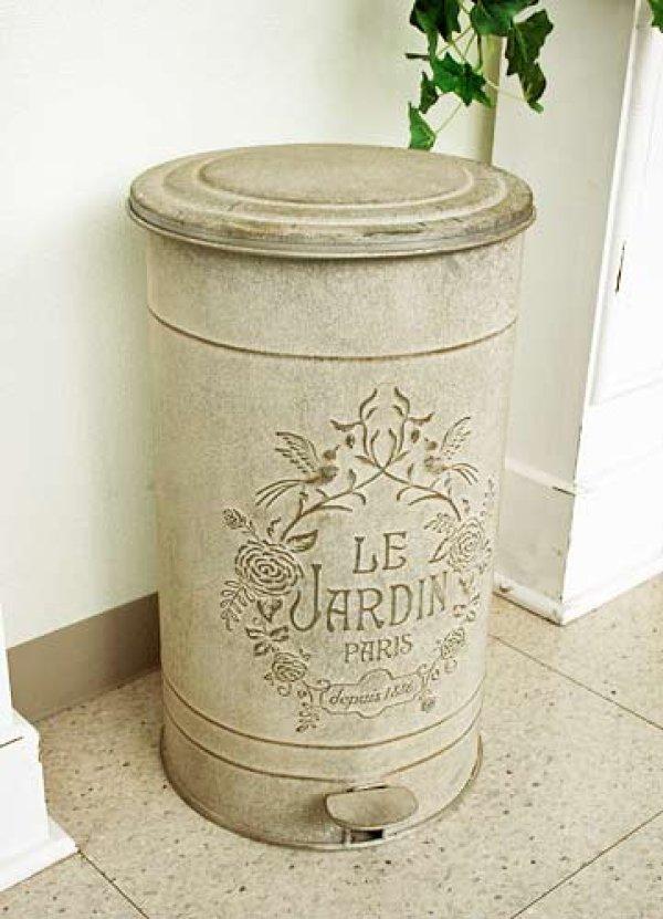 画像1: 輸入雑貨 ジャルダン トラッシュボックス ダストボックス ごみ箱 アイアン ブリキ シャビーシック アンティーク風 Covent Garden コベントガーデン OE-32 (1)