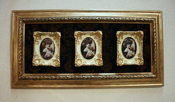 画像1: 輸入雑貨 ファミリーフォトフレーム 3P 写真入れ 壁掛け 壁飾り ウォールデコレーション クラシック ゴージャス エレガント ヨーロピアン 1383008 (1)