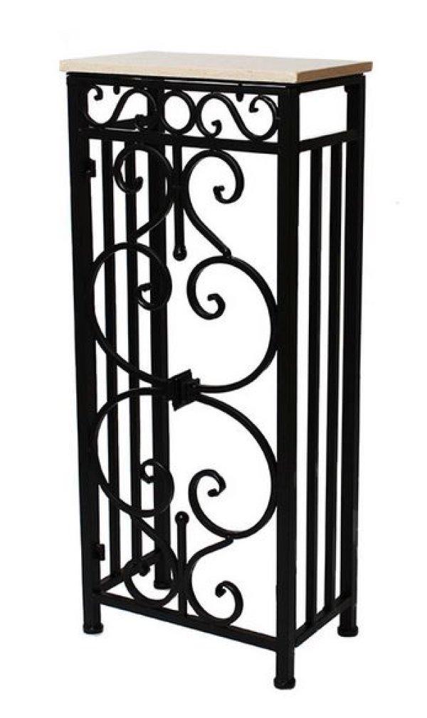画像1: 輸入家具 コンソール サイドテーブル 花台 飾り台 大理石 天然石 アイアン スリム 重厚 アンティーク風 イタリアン フレンチ 送料無料 FM-285-SS 38X22cm (1)