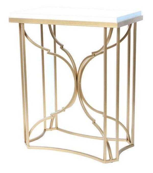 画像1: 輸入家具 コンソール サイドテーブル 花台 アイアン メタル ゴールド シンプル モダン クラシック シャビーシック アンティーク風 FM-429 リビングスタジオ (1)