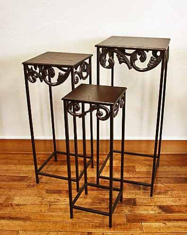 画像1: 輸入家具 花台 3点セット ネストテーブル サイドテーブル ランプテーブル アイアン 木製天板 シンプル モダン クラシック アンティーク風 FM-844 (1)