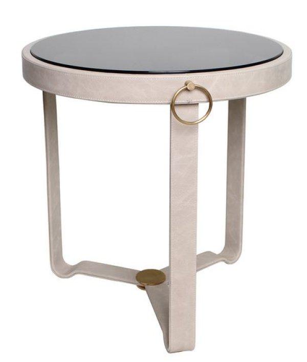 画像1: 輸入家具 サイドテーブル レザー ガラス モダン アバンギャルド コンテンポラリー シンプル EH-177 送料無料 直輸入 リビングスタジオ (1)