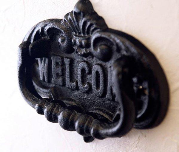 画像1: 輸入雑貨 ドアノッカー ウェルカム 壁掛け アイアン アンティーク風 シャビーシック welcome ヨーロピアン クラシック CV19-006 (1)