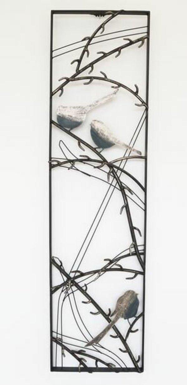 画像1: 輸入雑貨 ウォールデコレーション 壁飾り アイアン 小鳥 シルバー 和風 モダン クラシック シャビーシック アンティーク風 1808TSF002 送料無料 (1)