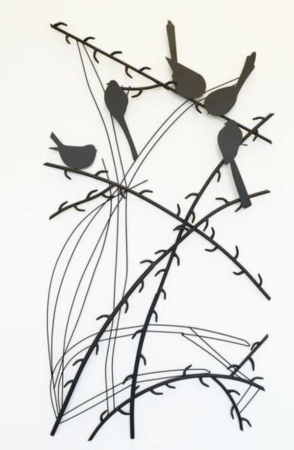 画像1: 輸入雑貨 ウォールデコレーション 壁飾り アイアン 小鳥 アート モノトーン モダン クラシック シャビーシック アンティーク風 1808TSF003 送料無料 (1)