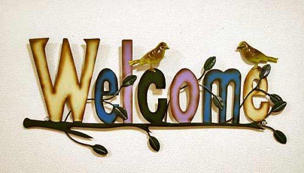 画像1: 輸入雑貨 ウェルカム ウォールオーナメント WELCOME vil 6720 アイアン ブリキ 壁飾り 壁掛け 小鳥 シャビーシック アンティーク風 ウォールデコ (1)