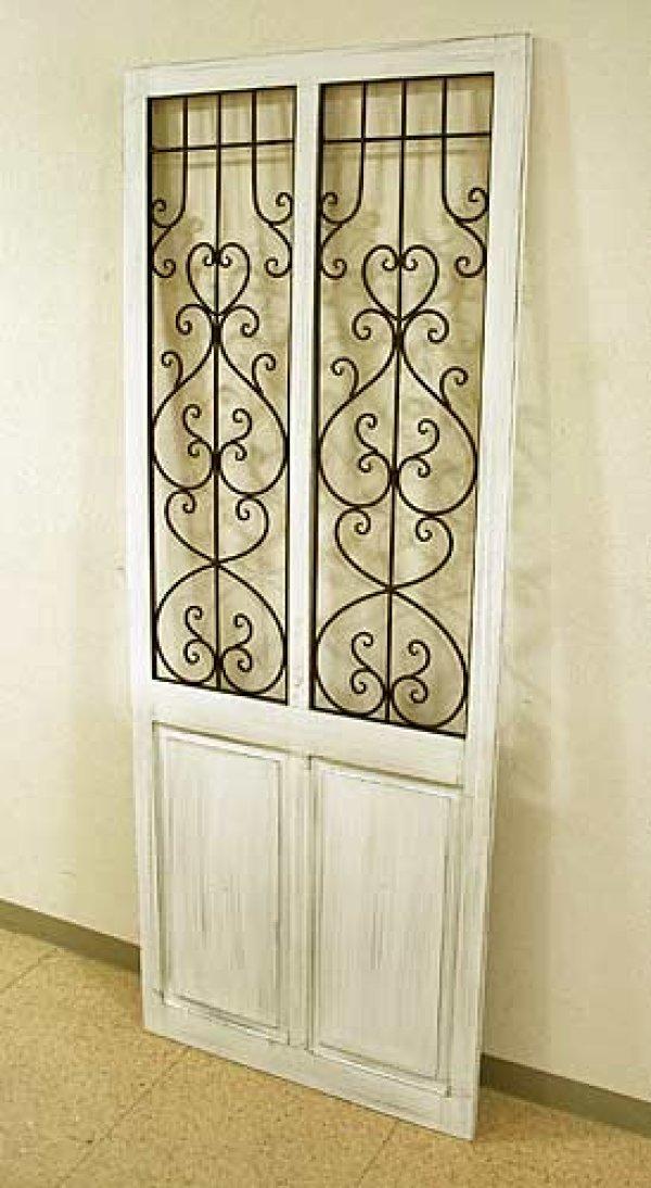 画像1: 輸入家具 アイアン ウッド ダブルドア ホワイト vil 6986 シャビーシック アンティーク風 ブロカンテ フレンチ 壁飾り 壁掛け ウォールデコレーション オブジェ パネル  (1)