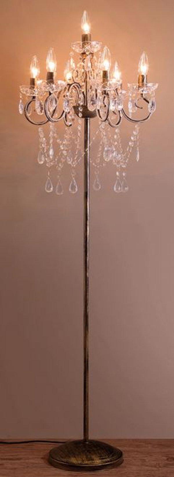 画像1: 輸入家具 照明 フロアスタンド フロアライト フロアランプ シャンデリア ゴールド イタリアン ゴ ージャス エレガント 姫系 アンティーク風 67D3051483 クリスティ LED (1)