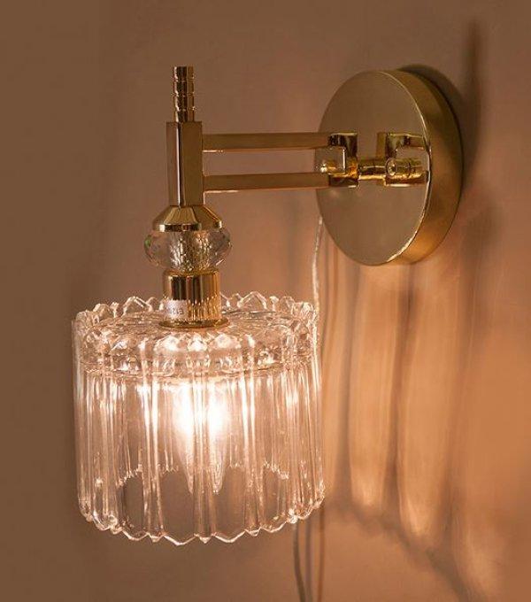 画像1: 輸入雑貨 ブラケット ウォールランプ ガラス クリスタル 1灯 ゴールド モダン クラシック 姫系 レトロ 照明 室内用 LED対応 BEDI W1D リビングスタジオ (1)