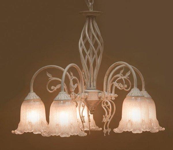 画像1: 輸入家具 照明 シャンデリア 室内用 LED対応 シャビーシック 豪華 姫系 パリ イザベラ 5灯 アンティーク ホワイト DL16569-5P-WGD 4.8kg (1)