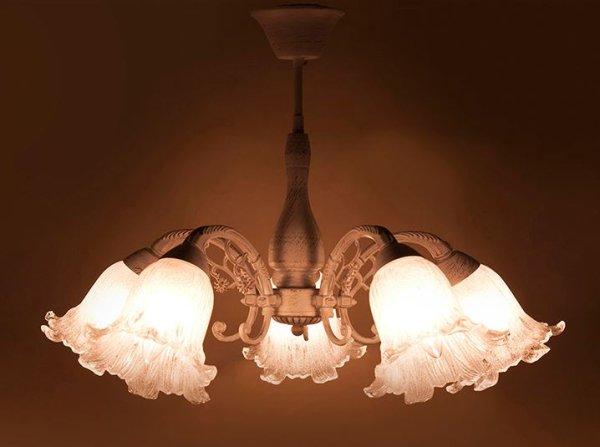 画像1: 輸入家具 照明 シャンデリア 天井直付 室内用 LED対応 シャビーシック 豪華 姫系 パリ ロクサーヌ 5灯 アンティーク ホワイト DL16677-5C-WG 4kg (1)