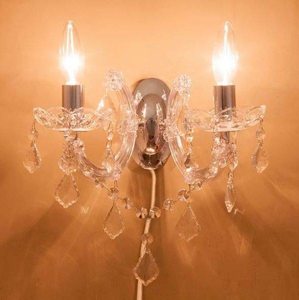 画像1: 輸入家具 ブラケット ウォールランプ 2灯 クリア シルバー 照明 壁掛け エレガント ゴージャス 姫系 LED対応 GLXY-2WCL ギャラクシーII (1)