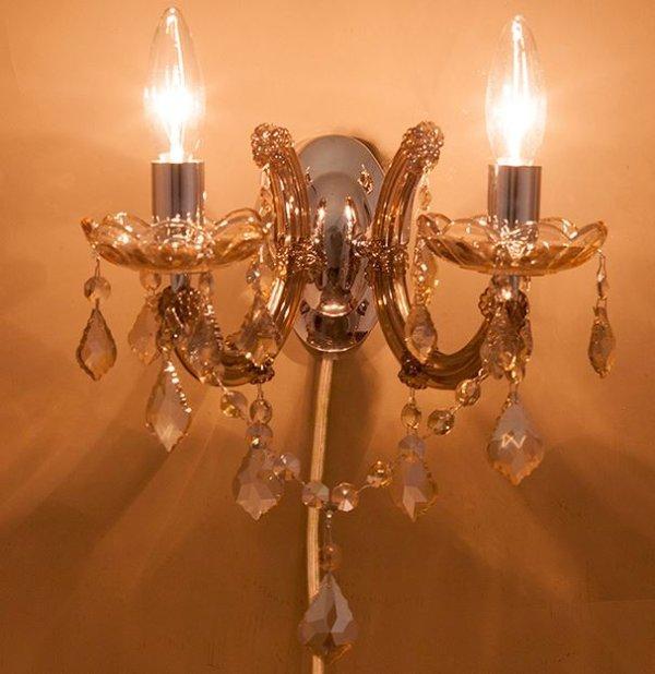 画像1: 輸入家具 ブラケット ウォールランプ 2灯 シャンパンゴールド 照明 壁掛け エレガント ゴージャス 姫系 LED対応 GLXY-2WCP ギャラクシーII (1)