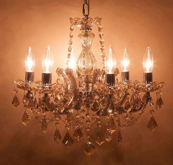 画像1: 輸入家具 シャンデリア 6灯 クリスタルガラス シャンパンゴールド 照明 エレガント ゴージャス 姫系 引っ掛けシーリング LED対応 GLXY-6CP ギャラクシーII (1)