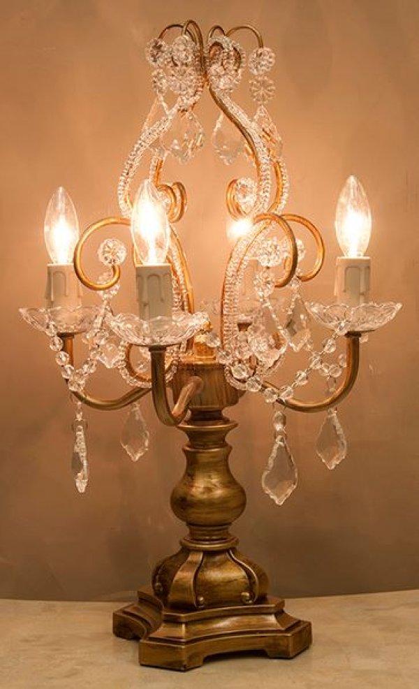 画像1: 輸入雑貨 照明 ランプ スタンド テーブルランプ シャンデリア シャビーシック アン ティーク風 ブロカンテ 照明 クラシック 姫系 SDL1248CG-2 ゴールド 送料無料 (1)