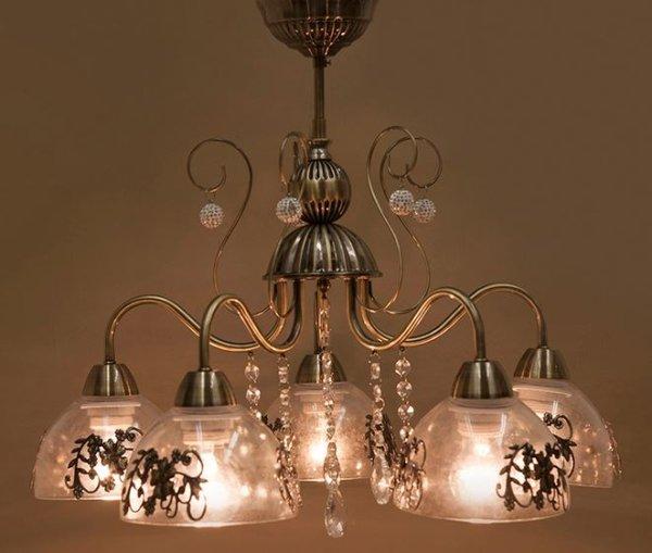 画像1: 輸入家具 照明 シャンデリア 天井直付 室内用 LED対応 シャビーシック 豪華 姫系 パリ プリシラ 5灯 アンティーク ブロンズ YG16855-5C-AB 4.3kg (1)