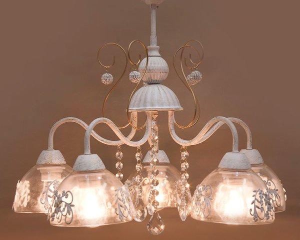 画像1: 輸入家具 照明 シャンデリア 天井直付 室内用 LED対応 シャビーシック 豪華 姫系 パリ プリシラ 5灯 アンティーク ホワイト YG16855-5C-WG 4.3kg (1)