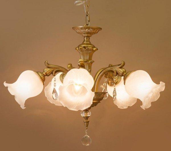 画像1: 輸入家具 照明 シャンデリア 天井直付 室内用 LED対応 豪華 姫系 シャビーシック アンティーク風 グレース 5灯 コッパー ゴールド YG18207-II-5P-CO 4.6kg (1)