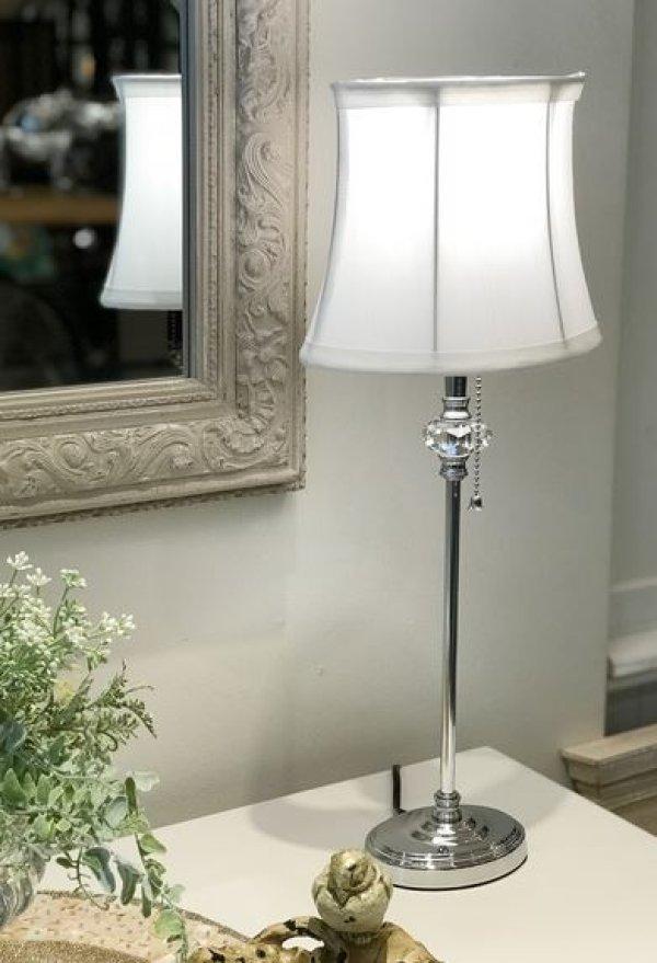 画像1: 輸入雑貨 ランプ テーブルランプ 楕円 薄型 アクリル シルバー シェード 白 シンプル モダン クラシック アンティーク風 フレンチ LF-122 送料無料 (1)