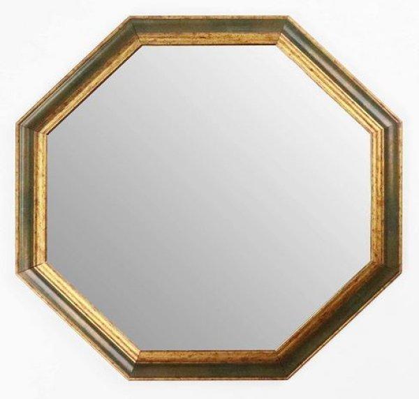 画像1: イタリア製 輸入雑貨 ミラー 八角形 グレー ゴールド 47X47 風水 アンティーク シャビーシック 55-128OV 送料無料 直輸入 リビングスタジオ (1)