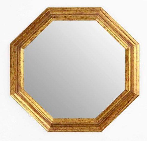 画像1: イタリア製 輸入雑貨 ミラー 八角形 ゴールド 37X37 風水 アンティーク シャビーシック 木製 55-8247G 直輸入 リビングスタジオ (1)
