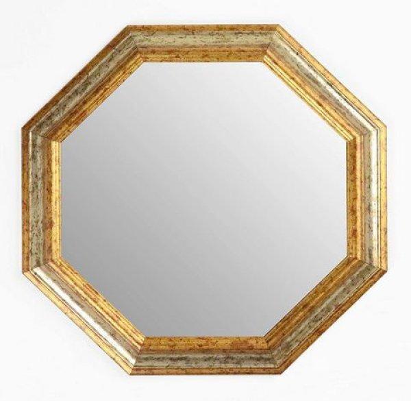 画像1: イタリア製 輸入雑貨 ミラー 八角形 シルバー ゴールド 37X37 風水 アンティーク シャビーシック 木製 55-8247SG 直輸入 リビングスタジオ (1)