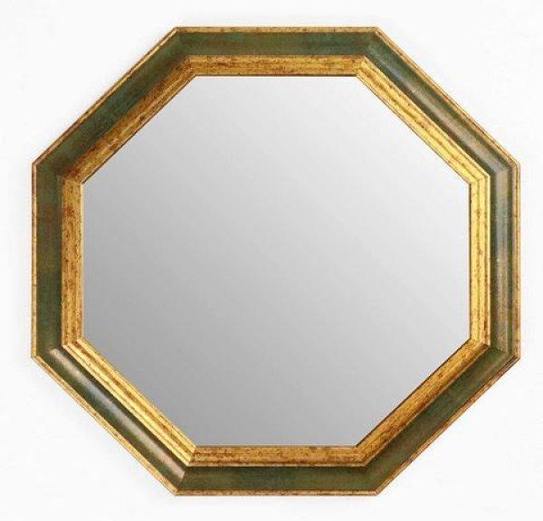 画像1: イタリア製 輸入雑貨 ミラー 八角形 グリーン ゴールド 37X37 風水 アンティーク シャビーシック 木製 55-8247VG 直輸入 リビングスタジオ (1)