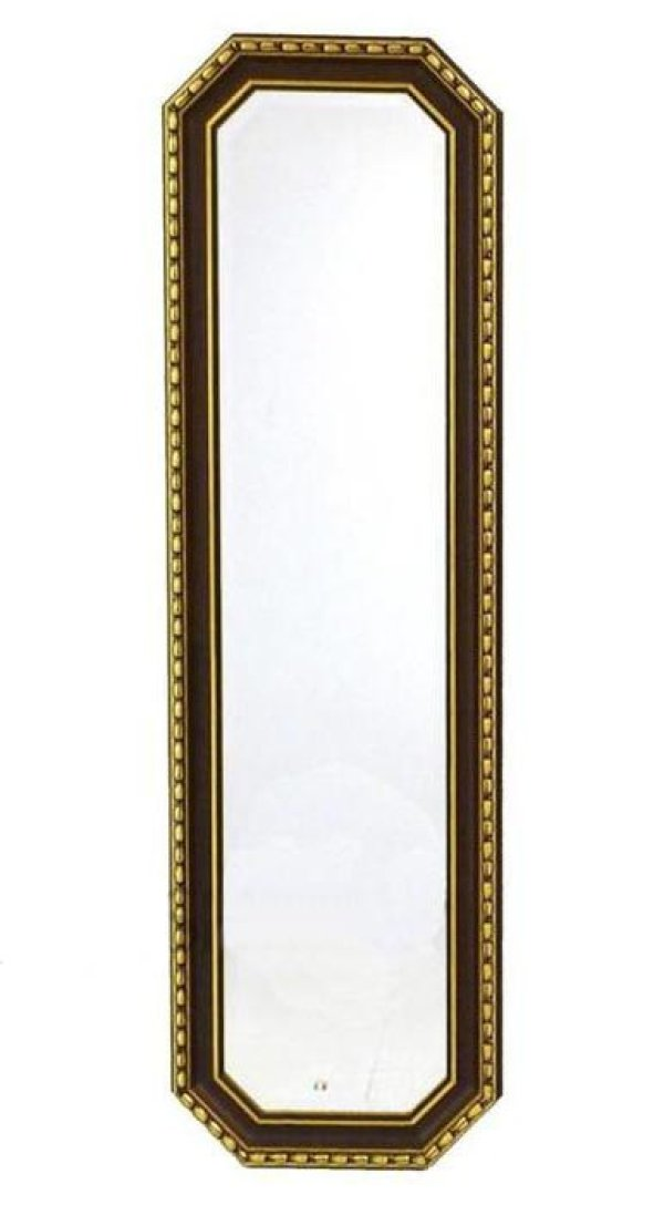 画像1: イタリア製 輸入雑貨 ミラー 姿見 八角 ブラウン ゴールド トリム 43X143 木目 ナチュラル アンティーク風 リビングスタジオ 直輸入 Bertozzi ベルトッツィ 808364 送料無料 (1)