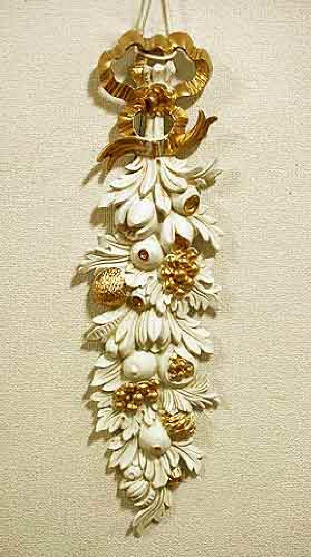 画像1: イタリア製 輸入雑貨 ウォールデコレーション フルーツ 壁掛け 壁飾り ロココ ホワイト ゴールド アンティーク風 姫系 樹脂製 G1-C1501 ISAS イサス 直輸入 リビングスタジオ (1)