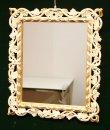 画像1: イタリア製 輸入雑貨 ミラー 壁掛け ロココ スクエア レリーフ 透かし ホワイト ゴールド アンティーク風 C492 ISAS イサス アイボリー 姫系 樹脂製 直輸入 リビングスタジオ (1)