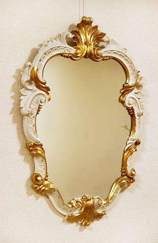 画像1: イタリア製 輸入雑貨 ミラー 壁掛け ロココ レリーフ ホワイト ゴールド アンティーク風 ISA-1280 C443 ISAS イサス アイボリー 姫系 樹脂製 直輸入 リビングスタジオ (1)