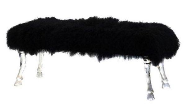 画像1: 輸入家具 スツール ロング ベンチ 羊 ファー 黒 ブラック 馬蹄 アクリル アンティーク風 AN-43550-BLAC 送料無料 直輸入 リビングスタジオ (1)