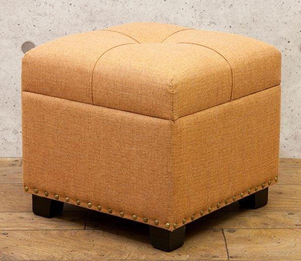 画像1: 輸入家具 タイディ スツール スクエア Pale Orange オレンジ 収納 ボックス チェア フレンチ 正方形 シャビー ナチュラル SZ-534-OR (1)