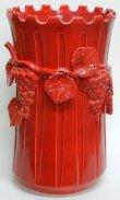 画像1: イタリア製 輸入雑貨 傘立て 陶器 ブドウ レッド 赤 アンティーク風 シャビーシック Ilponte イルポンテ 14145R 直輸入 リビングスタジオ 送料無料 (1)