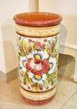 画像1: イタリア製 輸入雑貨 傘立て 陶器 ストレート 花柄 ローズ ピンク グラフィート  Ilponte イルポンテ トスカーナ アンティーク風 送料無料 96797 直輸入 リビングスタジオ (1)