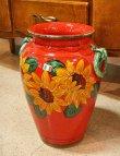 画像1: イタリア製 輸入雑貨 直輸入 陶器 傘立て 大花瓶 手描き ひまわり 赤 ヒマワリ サンフラワー レッド Ilponte イルポンテ 93-45-1295 送料無料 (1)