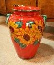 画像3: イタリア製 輸入雑貨 直輸入 陶器 傘立て 大花瓶 手描き ひまわり 赤 ヒマワリ サンフラワー レッド Ilponte イルポンテ 93-45-1295 送料無料 (3)