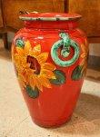 画像4: イタリア製 輸入雑貨 直輸入 陶器 傘立て 大花瓶 手描き ひまわり 赤 ヒマワリ サンフラワー レッド Ilponte イルポンテ 93-45-1295 送料無料 (4)