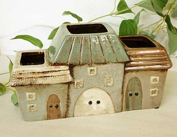 画像1: 輸入雑貨 フラワーポット ハウス 陶器 プランター 鉢カバー オーナメント フラワーベース ジブリ風 カントリー ナチュラル ガーデン 29252 (1)