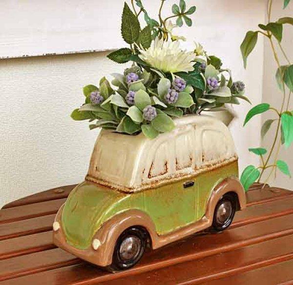 画像1: 輸入雑貨 フラワーポット 車 グリーン プランター フラワーベース ジブリ風 カントリー ナチュラル ガーデン 29267 (1)