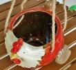 画像3: 輸入雑貨 ハンギングポット 陶器 ニワトリ 赤 フラワーポット プランター 鉢カバー ガーデニング アンティーク風 29271 (3)