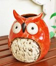 画像2: 輸入雑貨 フラワーベース 陶器 フクロウ オレンジ レッド 赤 トトロ風 花瓶 プランター フラワーポット シャビーシック H16cm 29273 (2)